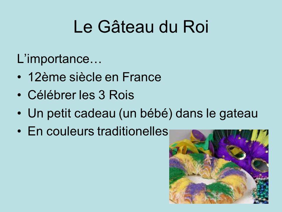 Le Gâteau du Roi Limportance… 12ème siècle en France Célébrer les 3 Rois Un petit cadeau (un bébé) dans le gateau En couleurs traditionelles