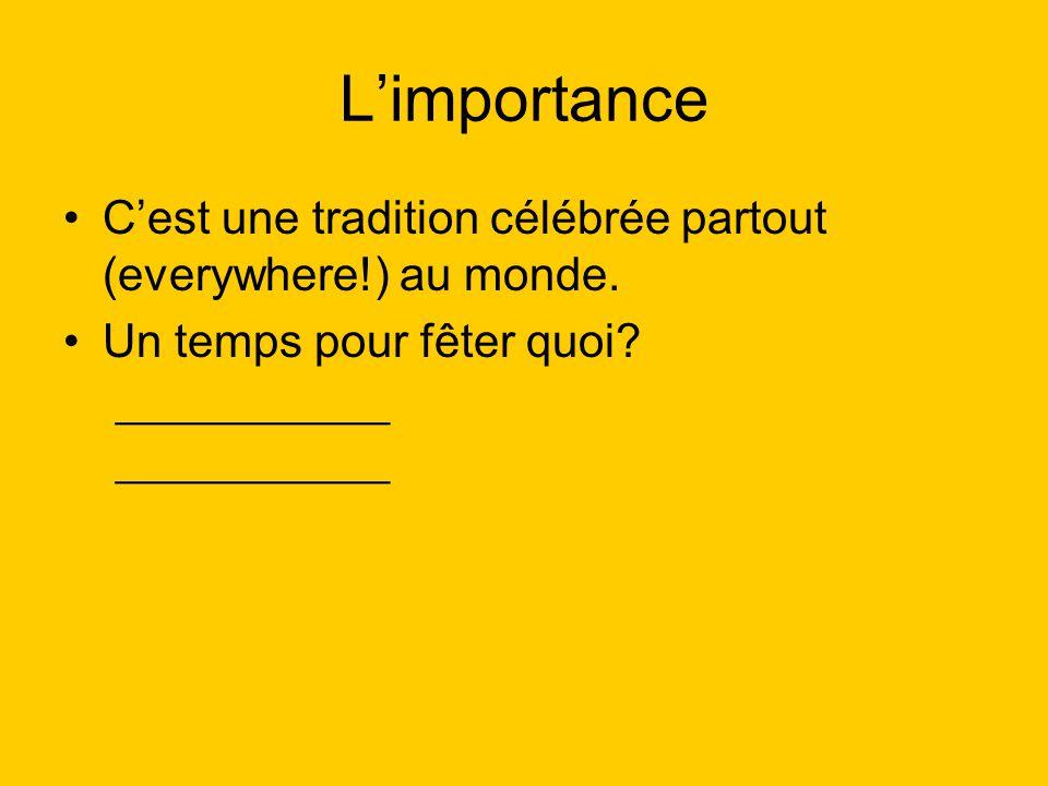 Limportance Cest une tradition célébrée partout (everywhere!) au monde. Un temps pour fêter quoi? ____________
