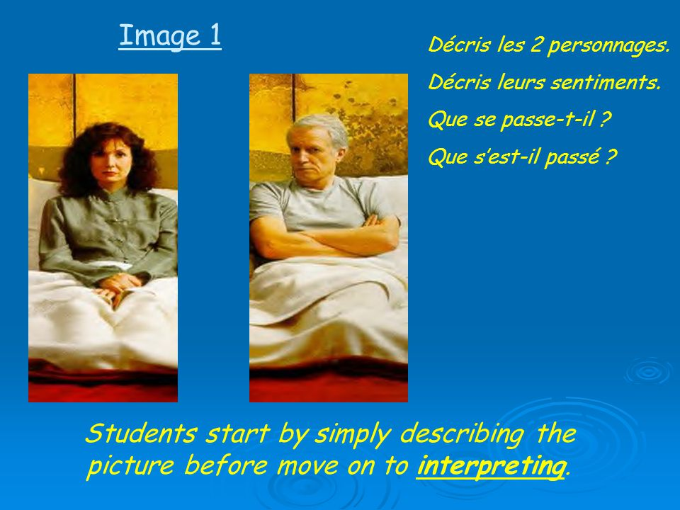 Students start by simply describing the picture before move on to interpreting. Décris les 2 personnages. Décris leurs sentiments. Que se passe-t-il ?