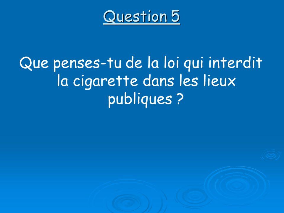 Question 5 Que penses-tu de la loi qui interdit la cigarette dans les lieux publiques ?