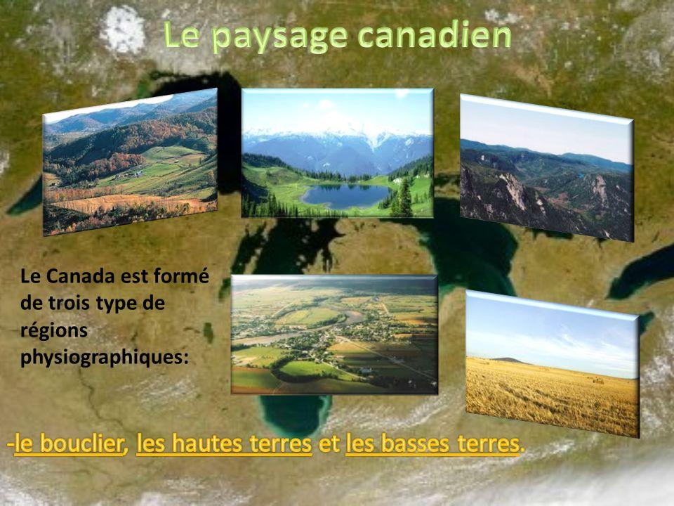 Le Canada est formé de trois type de régions physiographiques:
