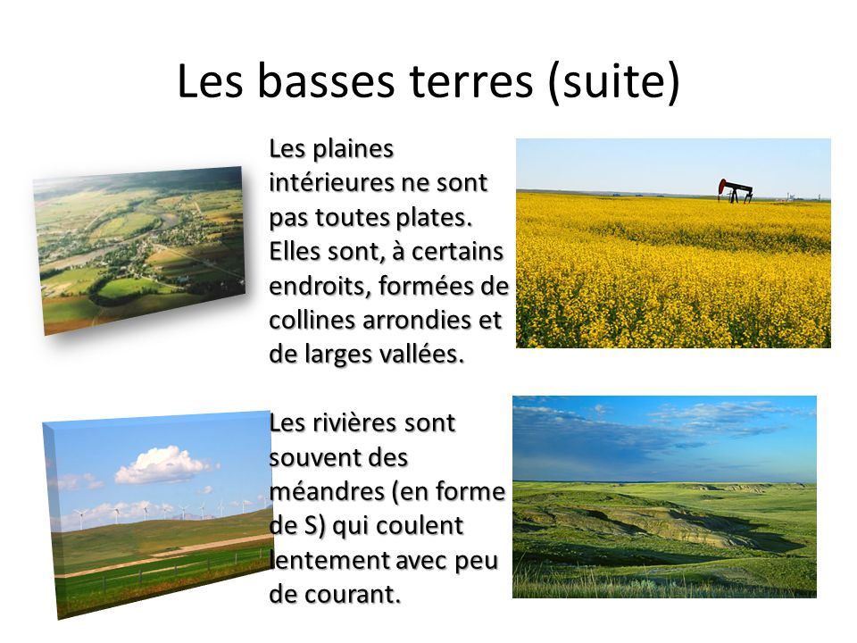 Les basses terres du Saint-Laurent et des Grands Lacs Les basses terres des Grands Lacs sont à louest et celles du Saint-Laurent à lest Les glaciers ont transporté dénormes quantités de sable, de terre et de gravier du bouclier jusquà cette région Le terrain est composé de plaines plates surmontées de collines arrondies (glaciaires) et de vallées fluviales Les Grands Lacs ont été créés par des glaciers qui ont creusé le terrain La majorité de leau des Grands Lacs provient de la fonte de ces glaciers (beaucoup de cette eau sest écoulée dans locéan