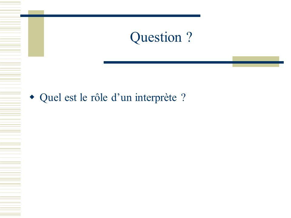 Question ? Quel est le rôle dun interprète ?