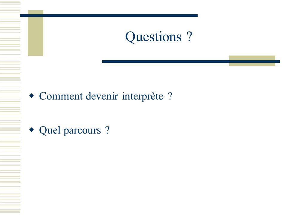 Questions ? Comment devenir interprète ? Quel parcours ?