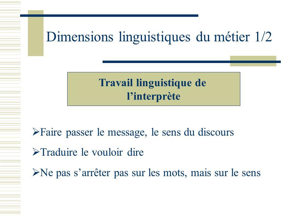 Dimensions linguistiques du métier 1/2 Travail linguistique de linterprète Faire passer le message, le sens du discours Traduire le vouloir dire Ne pas sarrêter pas sur les mots, mais sur le sens