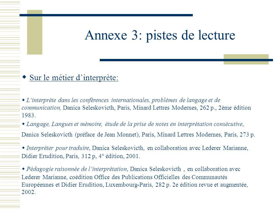 Annexe 3: pistes de lecture Sur le métier dinterprète: Linterprète dans les conférences internationales, problèmes de langage et de communication, Dan