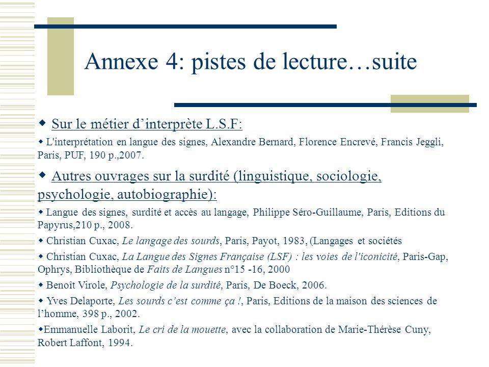 Annexe 4: pistes de lecture…suite Sur le métier dinterprète L.S.F: L interprétation en langue des signes, Alexandre Bernard, Florence Encrevé, Francis Jeggli, Paris, PUF, 190 p.,2007.