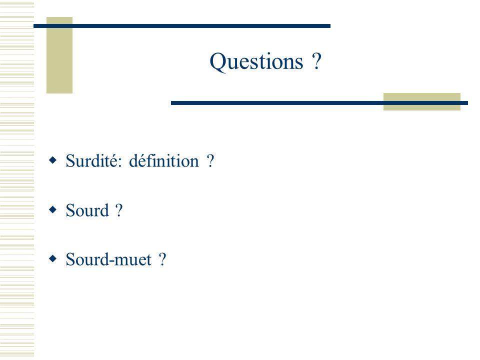 Questions ? Surdité: définition ? Sourd ? Sourd-muet ?