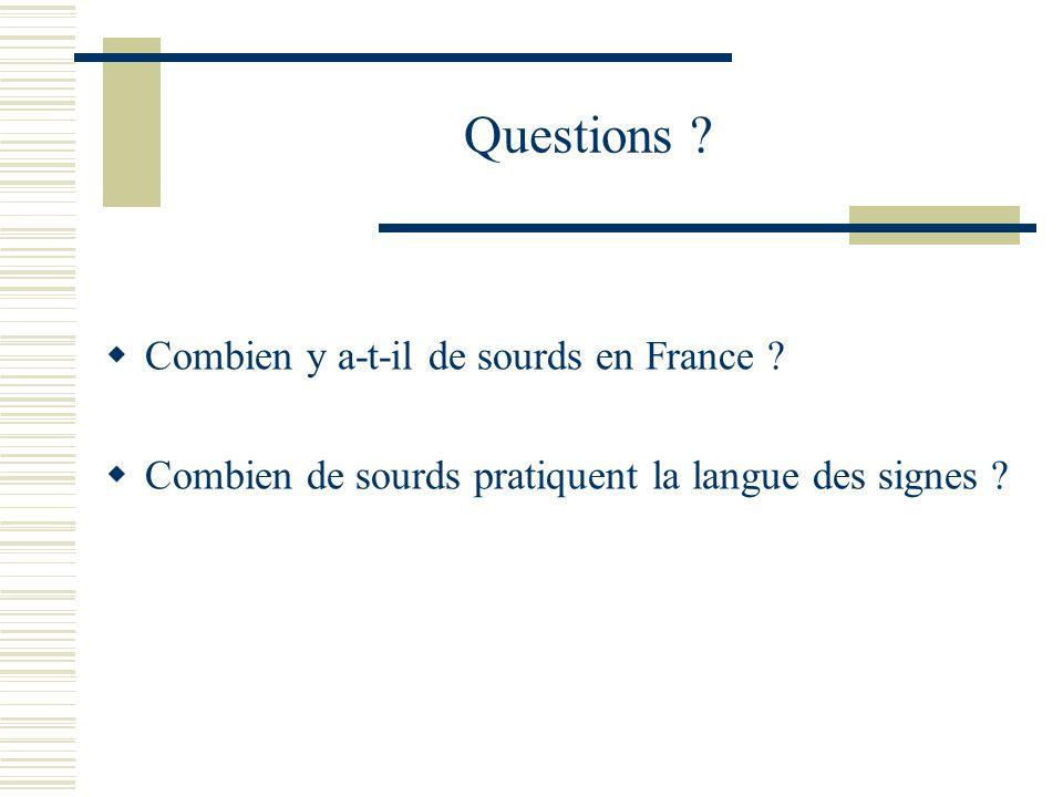 Questions ? Combien y a-t-il de sourds en France ? Combien de sourds pratiquent la langue des signes ?