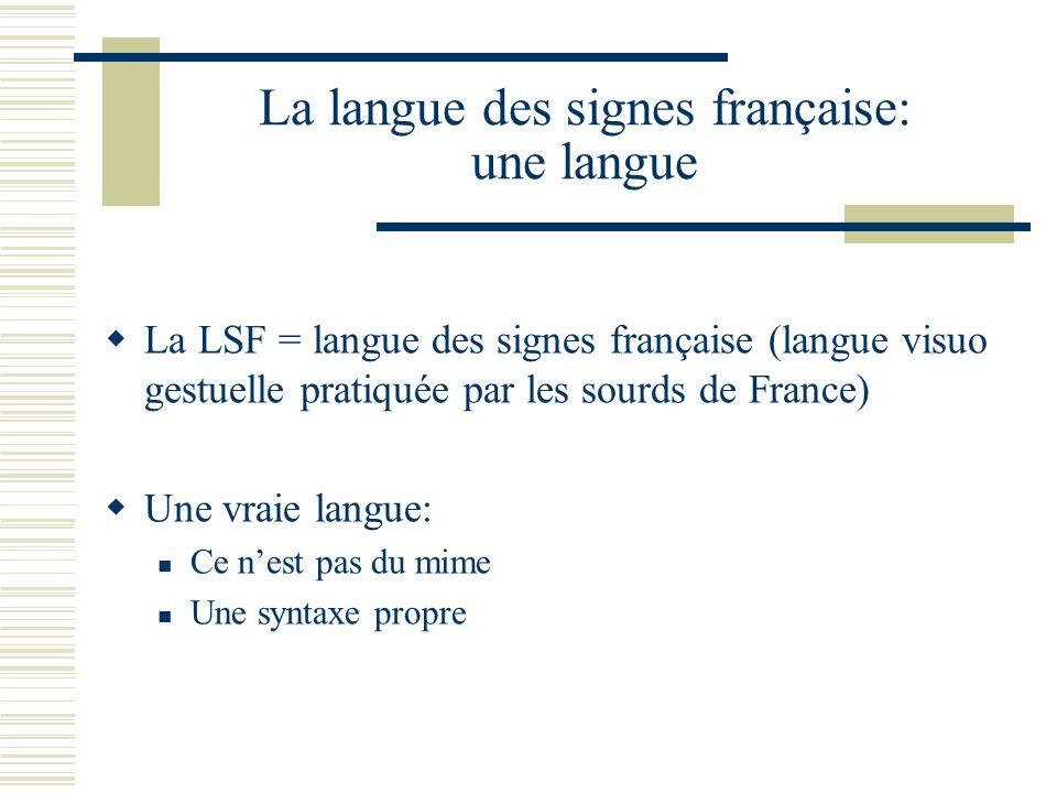 La langue des signes française: une langue La LSF = langue des signes française (langue visuo gestuelle pratiquée par les sourds de France) Une vraie langue: Ce nest pas du mime Une syntaxe propre