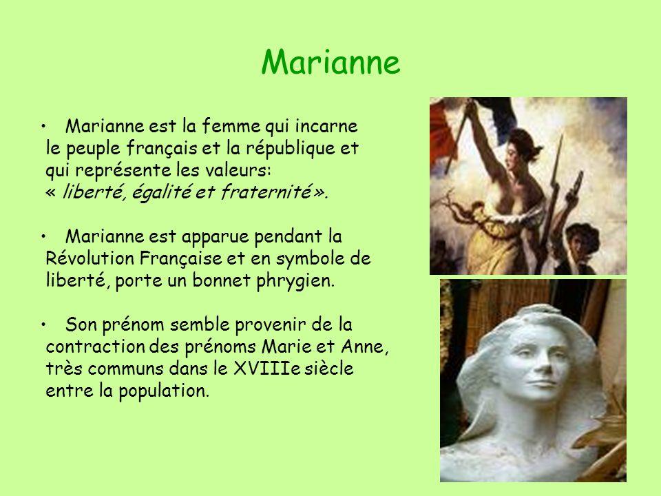 Marianne Marianne est la femme qui incarne le peuple français et la république et qui représente les valeurs: « liberté, égalité et fraternité ».