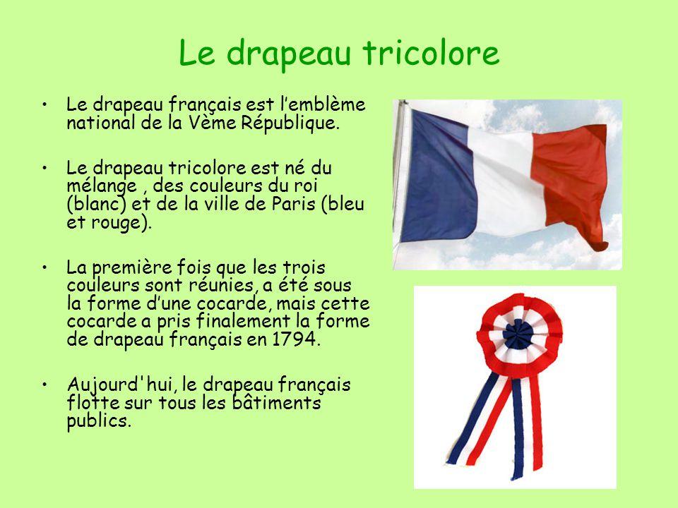 Le drapeau tricolore Le drapeau français est lemblème national de la Vème République.
