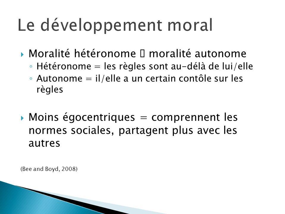 Moralité hétéronome moralité autonome Hétéronome = les règles sont au-délà de lui/elle Autonome = il/elle a un certain contôle sur les règles Moins ég
