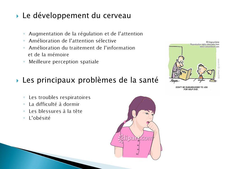 Le développement du cerveau Augmentation de la régulation et de lattention Amélioration de lattention sélective Amélioration du traitement de linforma