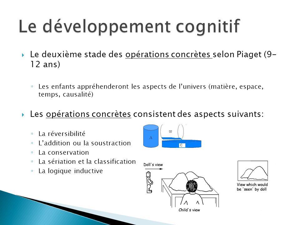 Le deuxième stade des opérations concrètes selon Piaget (9- 12 ans) Les enfants appréhenderont les aspects de lunivers (matière, espace, temps, causal