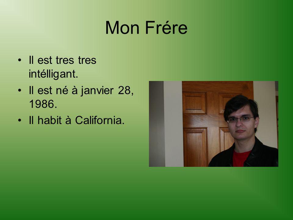 Mon Frére Il est tres tres intélligant. Il est né à janvier 28, 1986. Il habit à California.