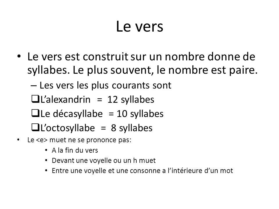 Le vers Le vers est construit sur un nombre donne de syllabes. Le plus souvent, le nombre est paire. – Les vers les plus courants sont Lalexandrin = 1