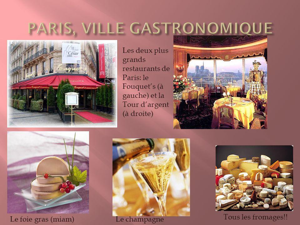Les deux plus grands restaurants de Paris: le Fouquets (à gauche) et la Tour dargent (à droite) Le foie gras (miam)Le champagne Tous les fromages!!