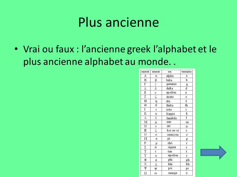 Plus ancienne Vrai ou faux : lancienne greek lalphabet et le plus ancienne alphabet au monde..