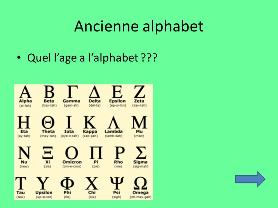 Ancienne alphabet Quel lage a lalphabet ???