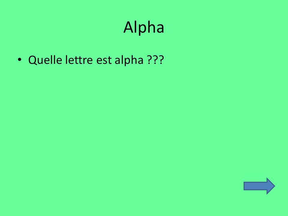 Alpha Quelle lettre est alpha ???
