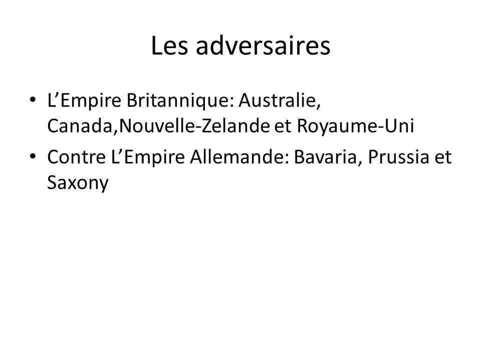 Les adversaires LEmpire Britannique: Australie, Canada,Nouvelle-Zelande et Royaume-Uni Contre LEmpire Allemande: Bavaria, Prussia et Saxony