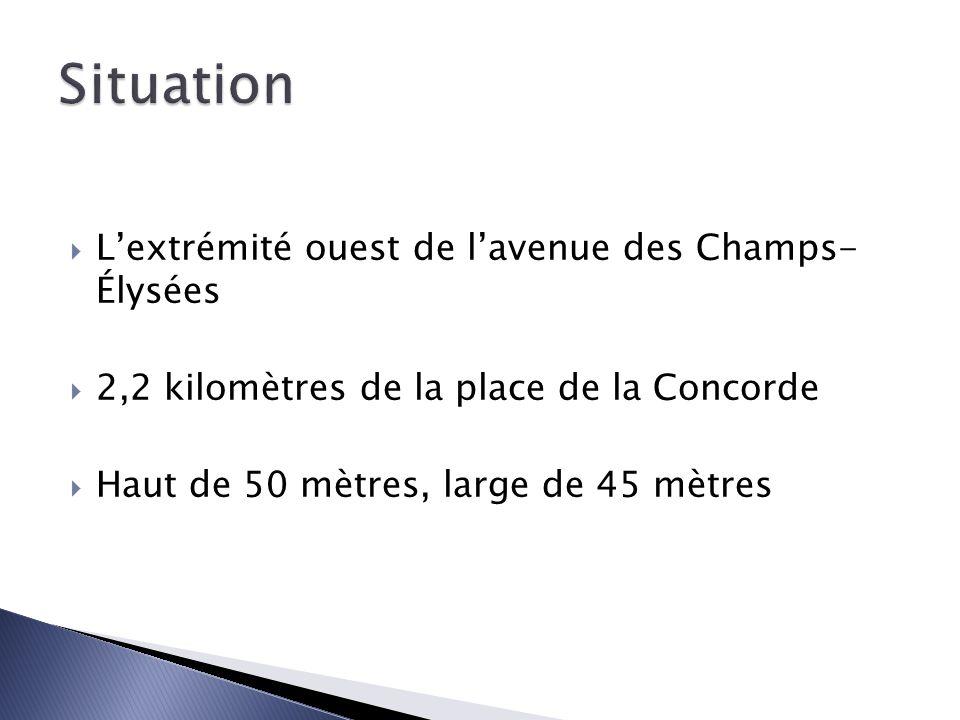 Lextrémité ouest de lavenue des Champs- Élysées 2,2 kilomètres de la place de la Concorde Haut de 50 mètres, large de 45 mètres