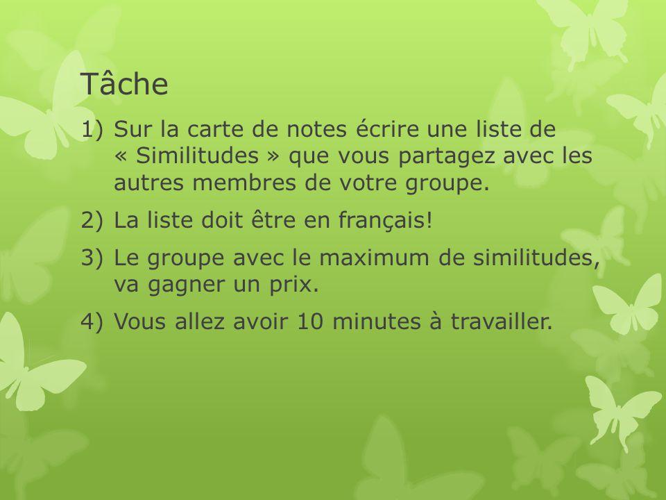 Tâche 1)Sur la carte de notes écrire une liste de « Similitudes » que vous partagez avec les autres membres de votre groupe. 2)La liste doit être en f