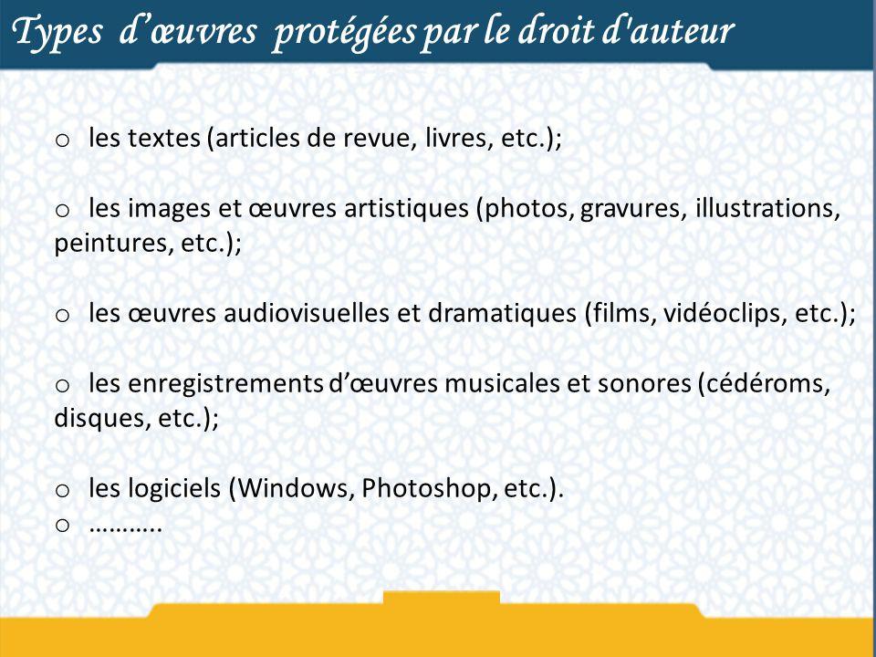 Types dœuvres protégées par le droit d'auteur o les textes (articles de revue, livres, etc.); o les images et œuvres artistiques (photos, gravures, il