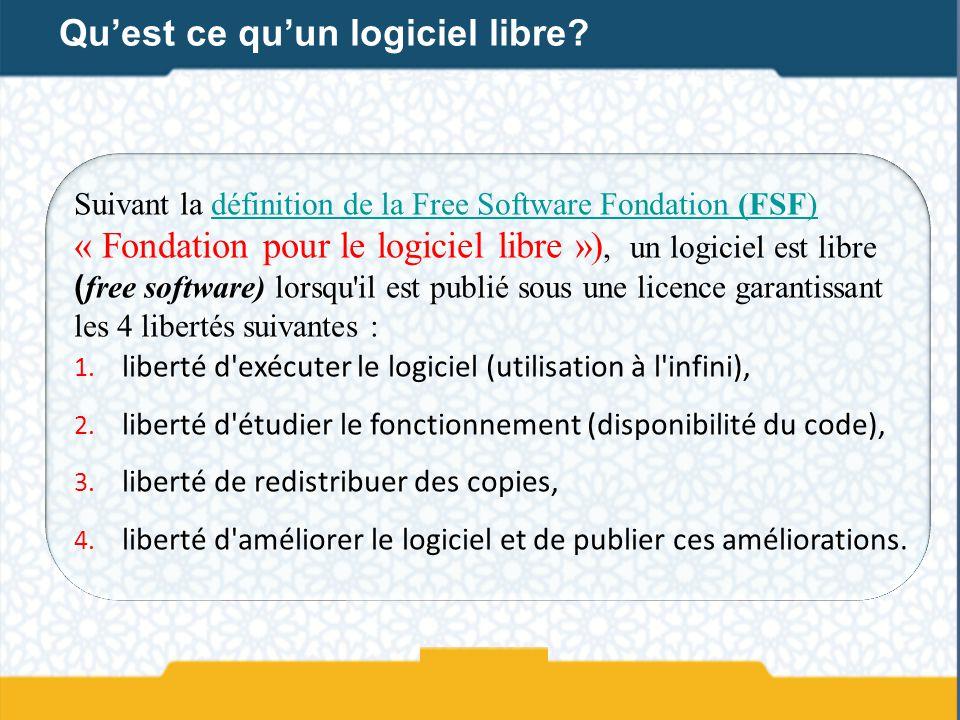 Suivant la définition de la Free Software Fondation (FSF) « Fondation pour le logiciel libre »), un logiciel est libre ( free software) lorsqu'il est
