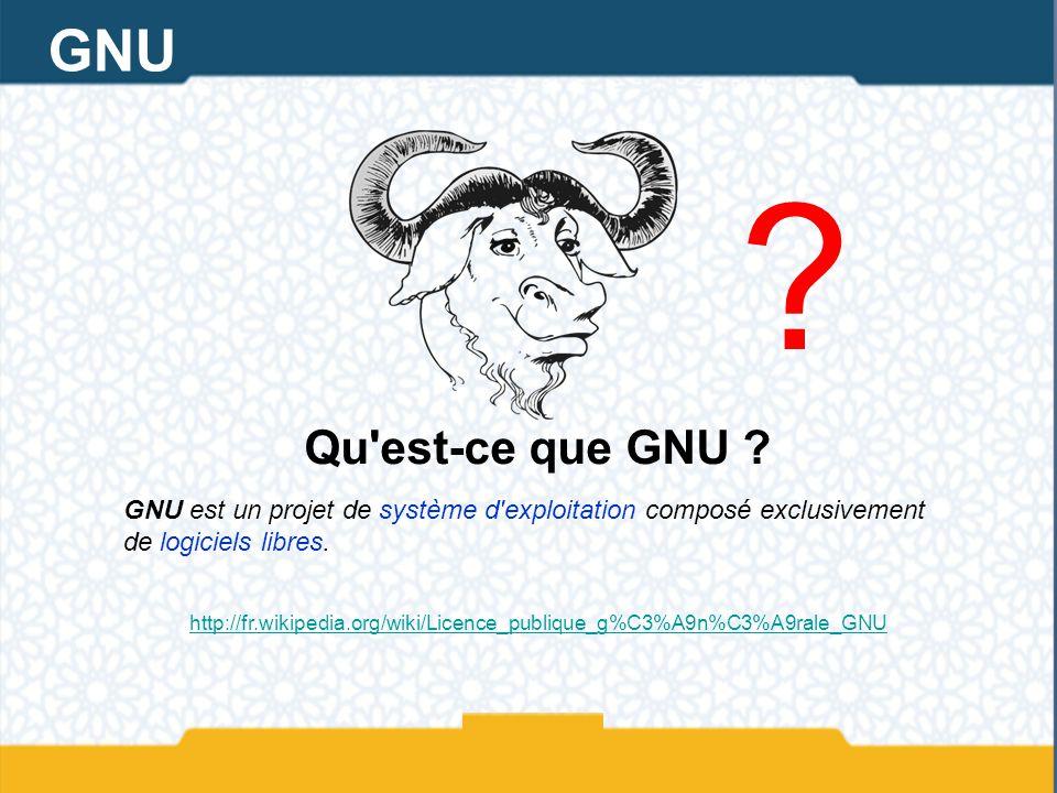 ? Qu'est-ce que GNU ? GNU est un projet de système d'exploitation composé exclusivement de logiciels libres. http://fr.wikipedia.org/wiki/Licence_publ
