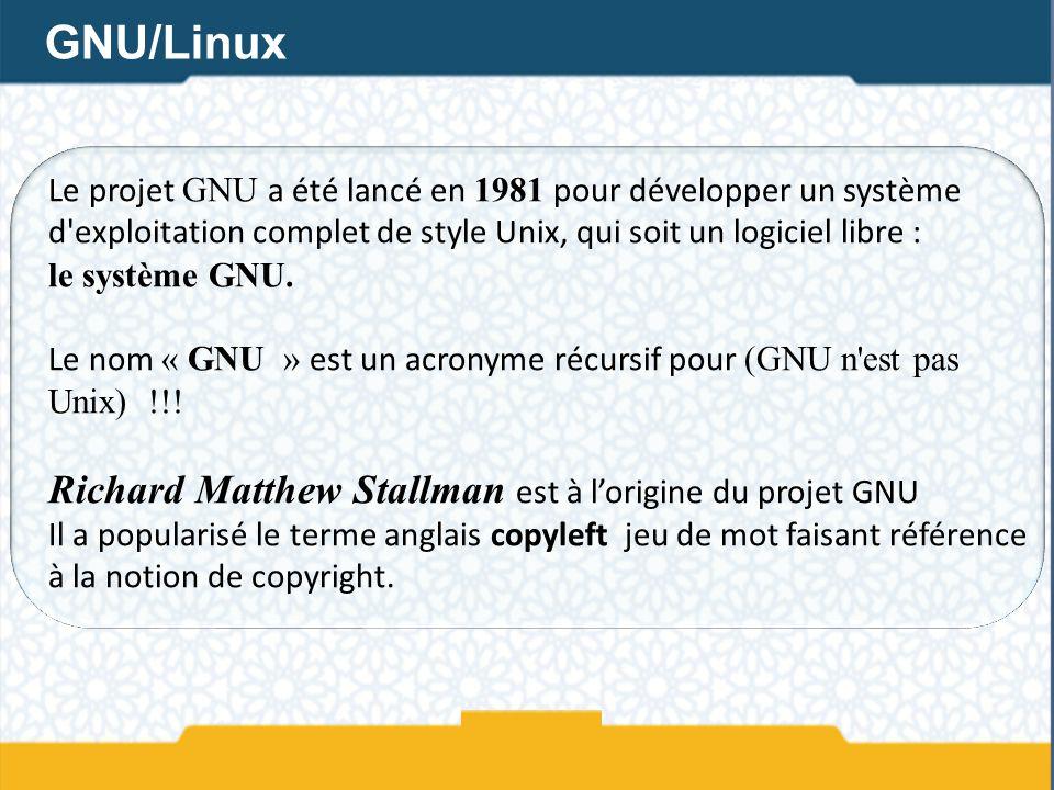 Le projet GNU a été lancé en 1981 pour développer un système d'exploitation complet de style Unix, qui soit un logiciel libre : le système GNU. Le nom