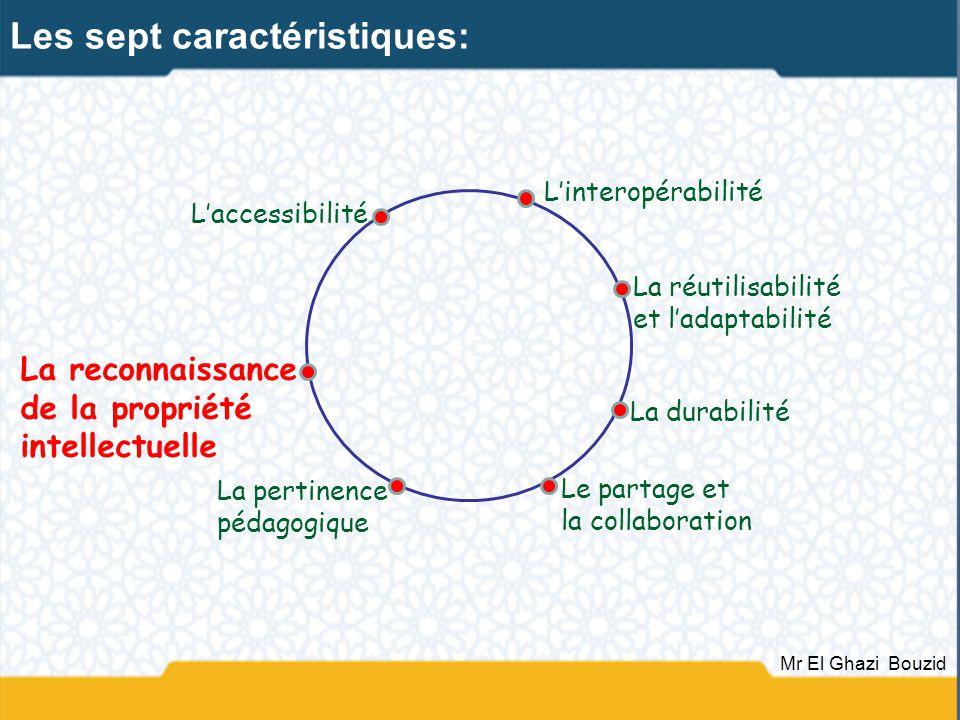 Laccessibilité La durabilité Linteropérabilité Le partage et la collaboration La pertinence pédagogique La reconnaissance de la propriété intellectuel