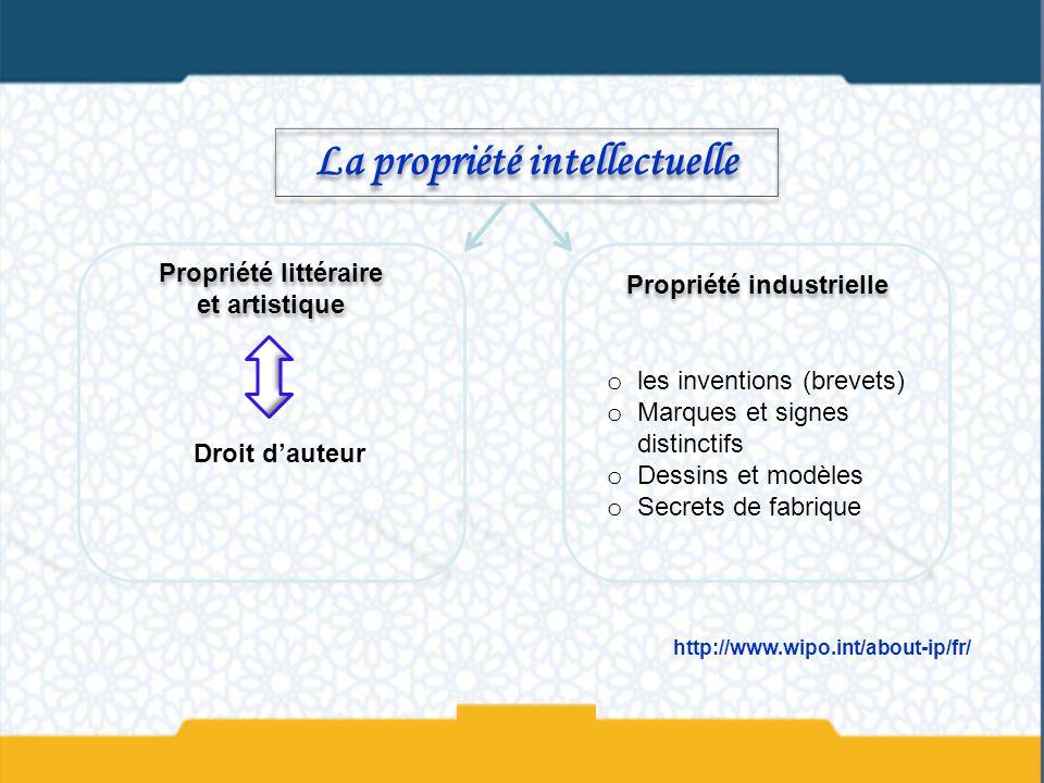 La propriété intellectuelle Propriété littéraire et artistique Propriété industrielle Droit dauteur o les inventions (brevets) o Marques et signes dis