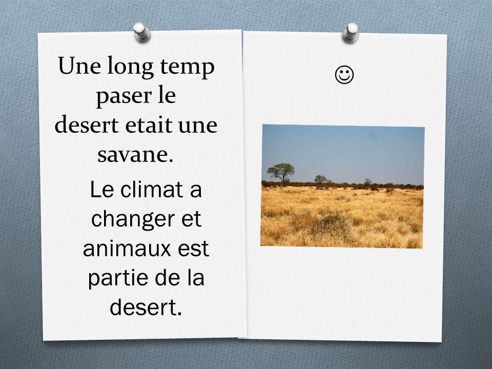 Une long temp paser le desert etait une savane. Le climat a changer et animaux est partie de la desert.