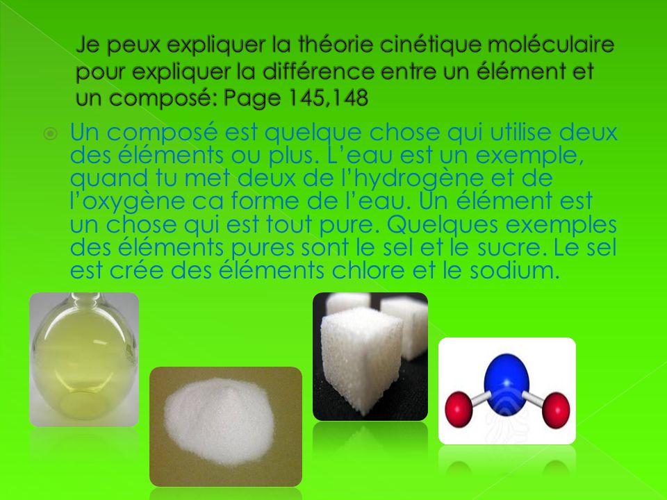 Un composé est quelque chose qui utilise deux des éléments ou plus. Leau est un exemple, quand tu met deux de lhydrogène et de loxygène ca forme de le