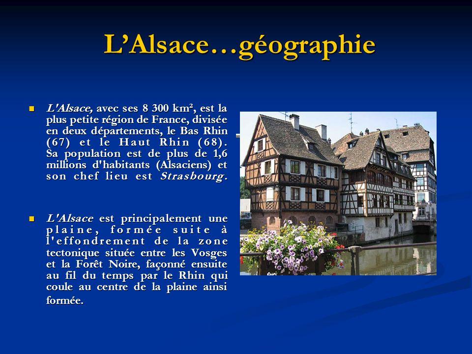 LAlsace…géographie LAlsace…géographie L'Alsace, avec ses 8 300 km², est la plus petite région de France, divisée en deux départements, le Bas Rhin (67