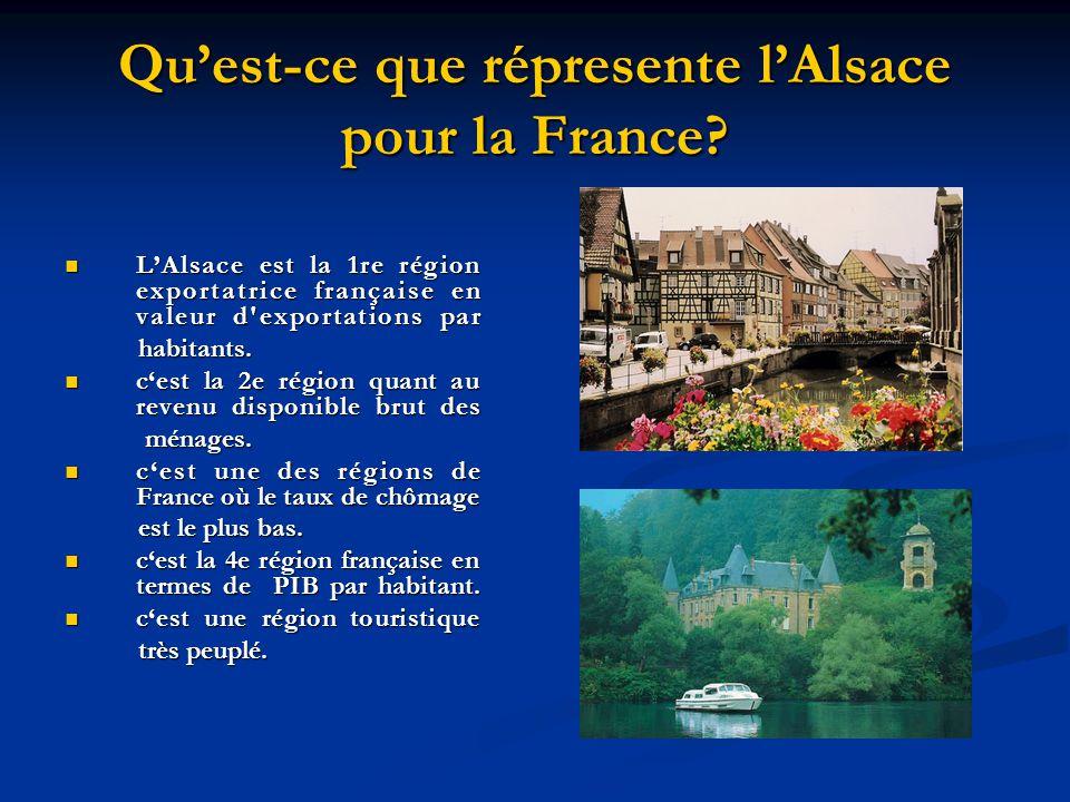 Quest-ce que répresente lAlsace pour la France? LAlsace est la 1re région exportatrice française en valeur d'exportations par LAlsace est la 1re régio