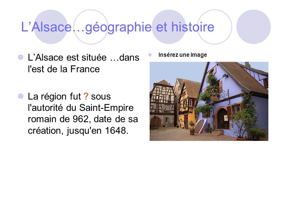 LAlsace…géographie et histoire LAlsace est située …dans l est de la France La région fut .