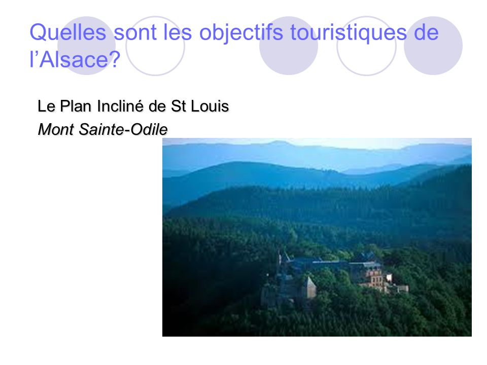 Quels sont les objectifs culturels de lAlsace? Chateau du Haut Koengsbourg; Ecomusée d Alsace;