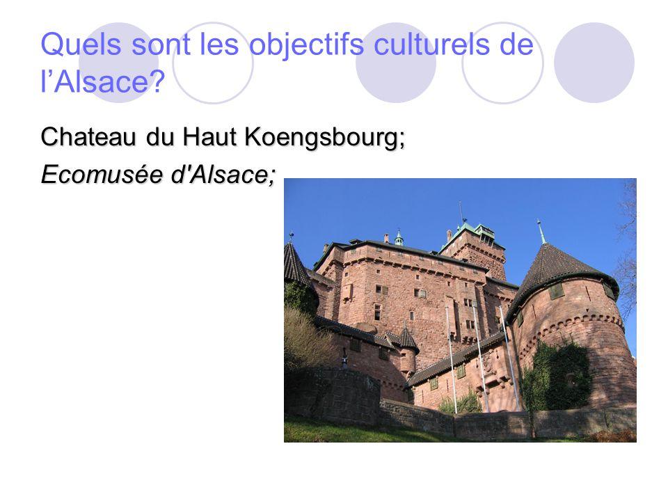 Quels sont les objectifs culturels de lAlsace Chateau du Haut Koengsbourg; Ecomusée d Alsace;