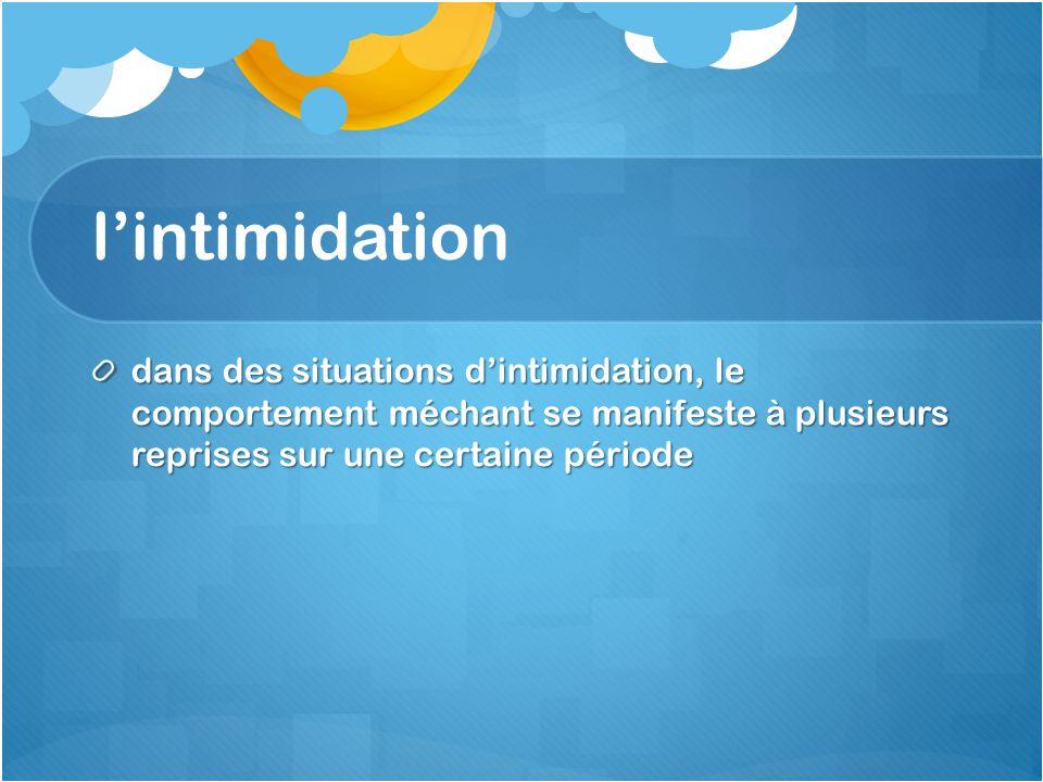 lintimidation dans des situations dintimidation, le comportement méchant se manifeste à plusieurs reprises sur une certaine période