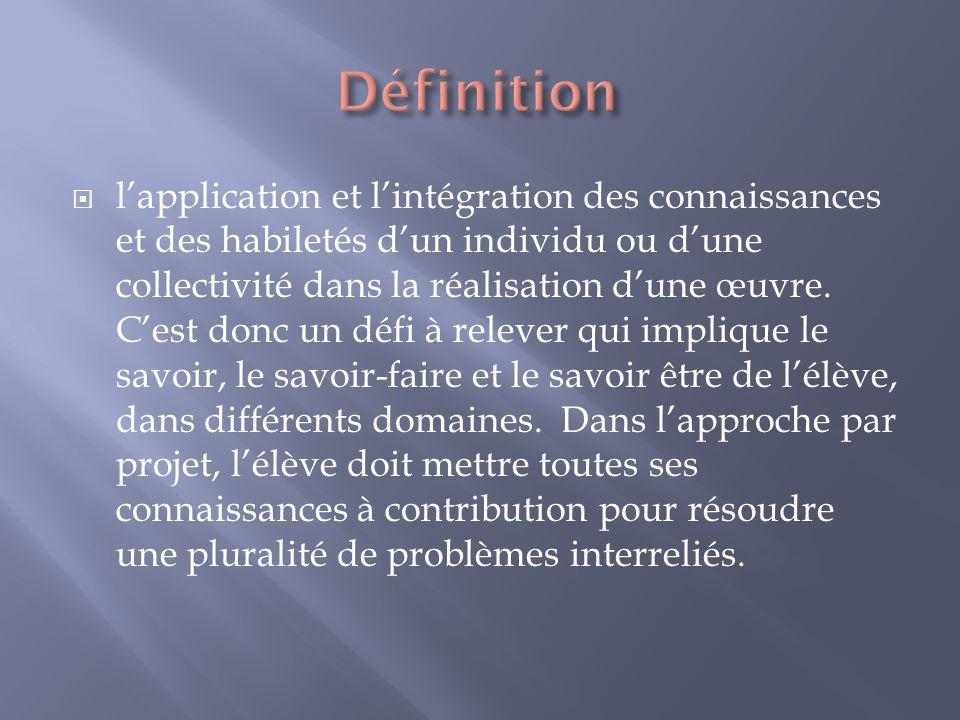 lapplication et lintégration des connaissances et des habiletés dun individu ou dune collectivité dans la réalisation dune œuvre.