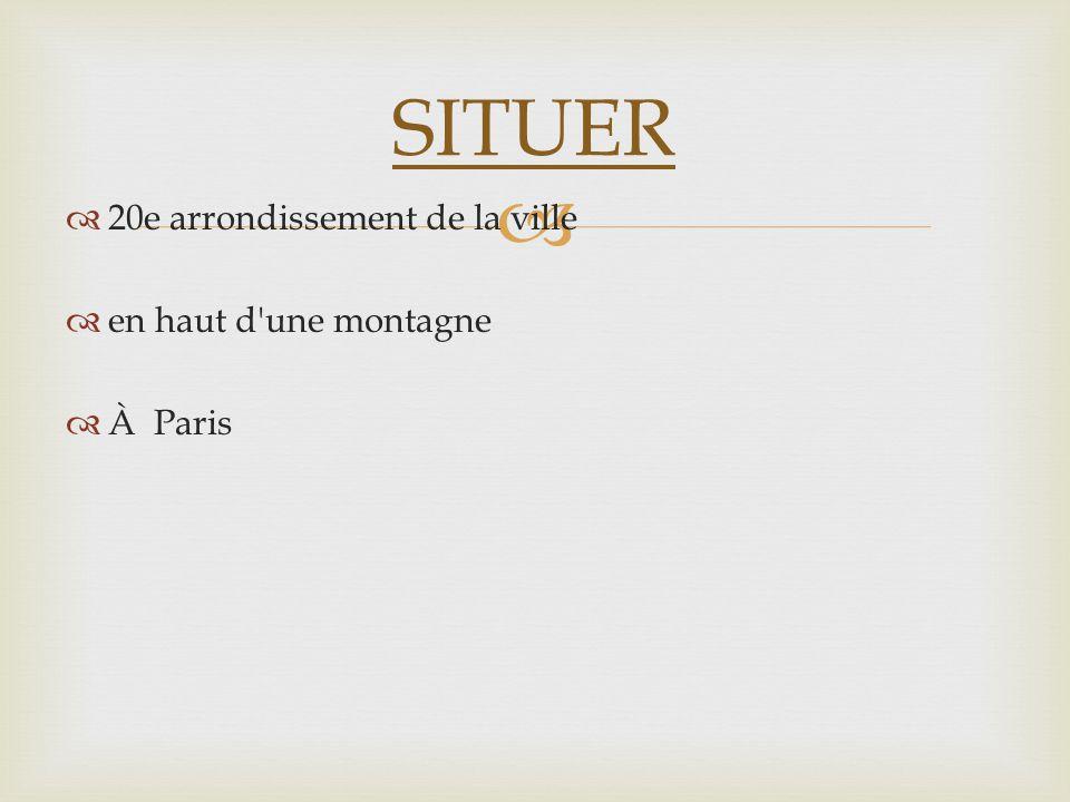 20e arrondissement de la ville en haut d'une montagne À Paris SITUER