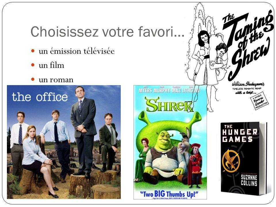 Choisissez votre favori… un émission télévisée un film un roman une pièce