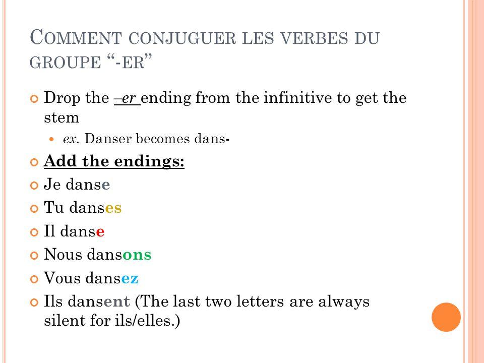 C OMMENT CONJUGUER LES VERBES DU GROUPE - ER Drop the –er ending from the infinitive to get the stem ex. Danser becomes dans- Add the endings: Je dans