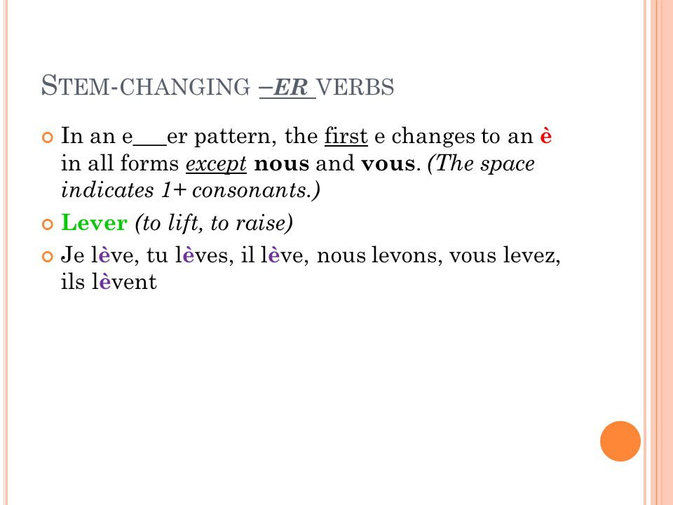 S TEM - CHANGING – ER VERBS In an e___er pattern, the first e changes to an è in all forms except nous and vous.