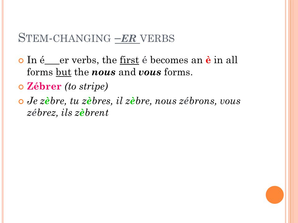 S TEM - CHANGING – ER VERBS In é___er verbs, the first é becomes an è in all forms but the nous and vous forms.