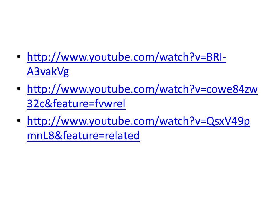 http://www.youtube.com/watch?v=BRI- A3vakVg http://www.youtube.com/watch?v=BRI- A3vakVg http://www.youtube.com/watch?v=cowe84zw 32c&feature=fvwrel htt