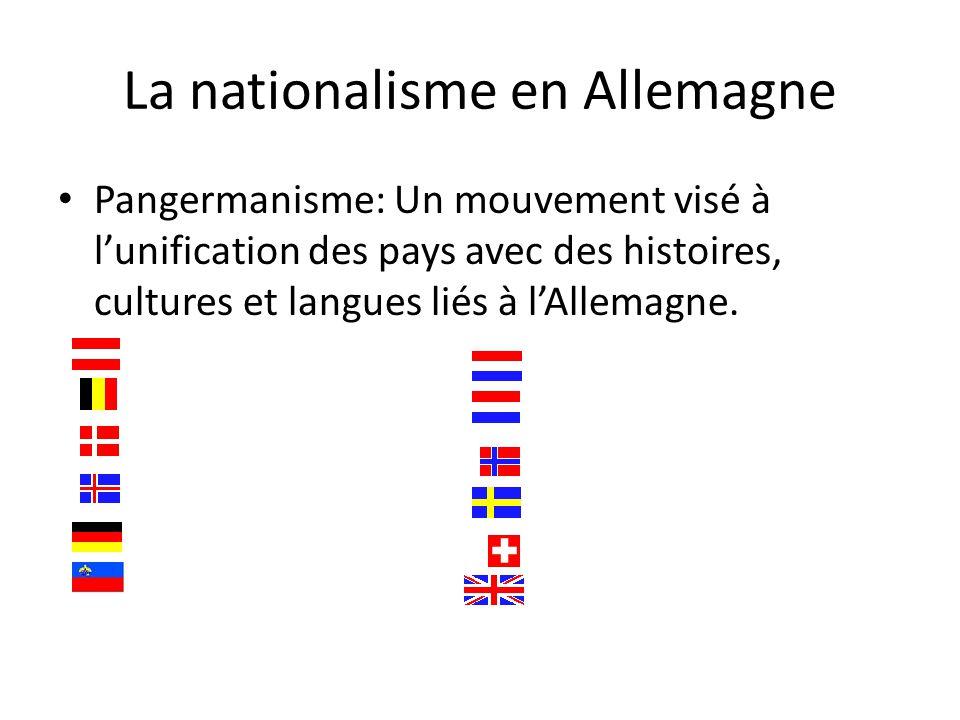 La nationalisme en Allemagne Pangermanisme: Un mouvement visé à lunification des pays avec des histoires, cultures et langues liés à lAllemagne.